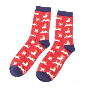 Mr Heron Mens Jack Russels Red Socks