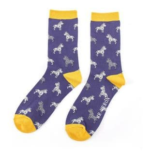 Mr Heron Mens Zebras Navy Socks
