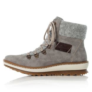 Rieker Z8643-40 Grey Zip Up Womens Ankle Boots