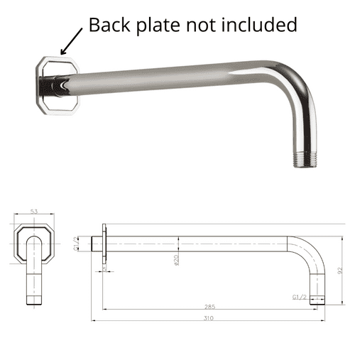 Crosswater Traditional Shower Arm In Chrome - 310mm - Model BL684C