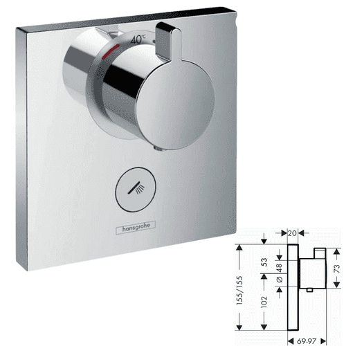 Hansgrohe  ShowerSelect Thermostatic Highflow For Concealed Installation - Model 15761000
