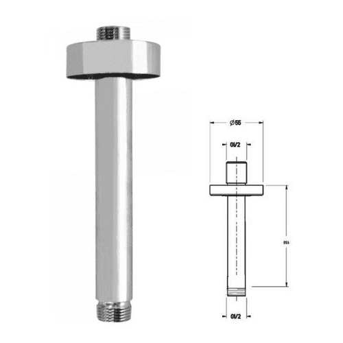 Just Taps Ceiling Shower Arm (150mm)  In Chrome - Model 40218