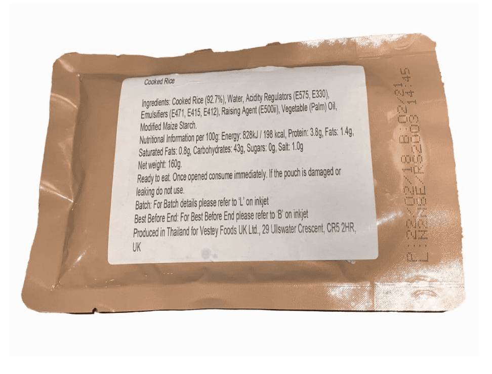 British Army Ration Meal Pouch - Cooked Rice