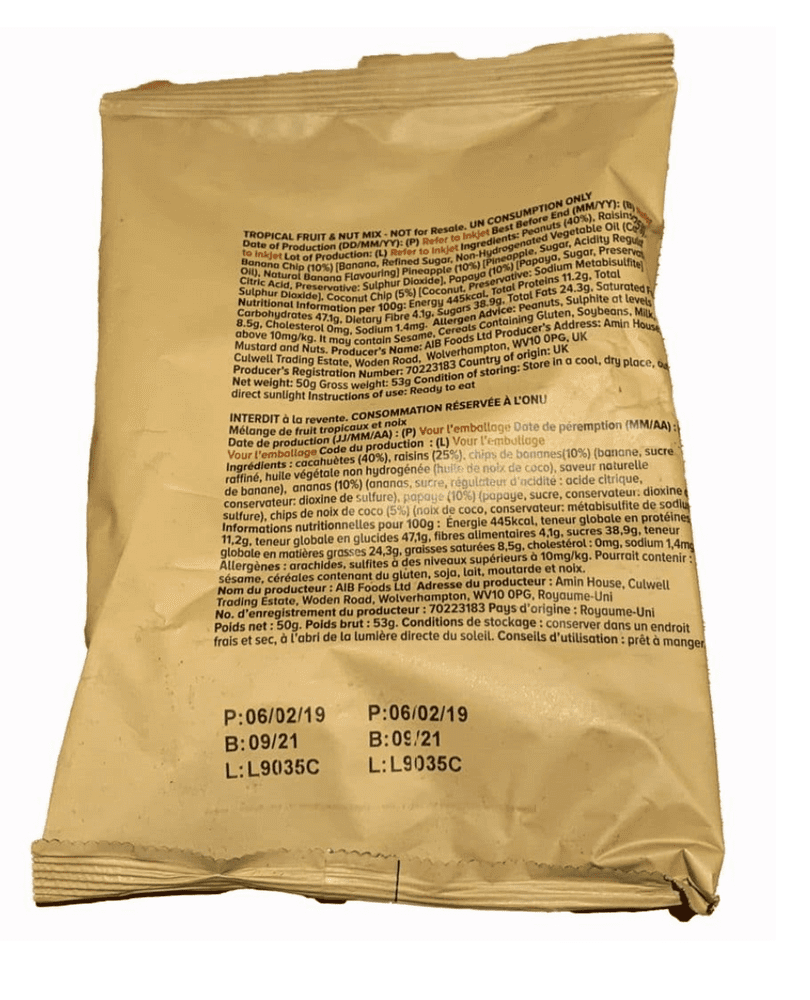 British Army Ration Meal Pouch - Tropical Fruit and Nut Mix