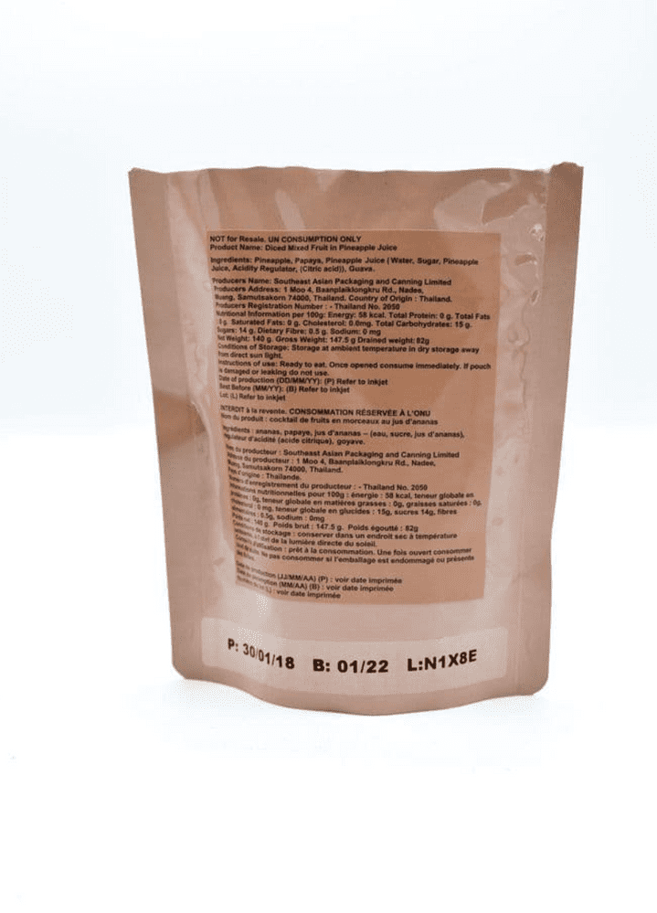 British Army Ration Pack Meal Pouch - Diced Mixed Fruit In Pineapple Juice