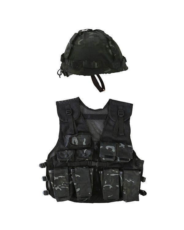 Kombat UK Kids Assault Vest & Helmet Set - BTP Black