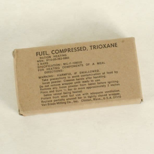 US Military Issue Trioxane Fuel Tablets x 3