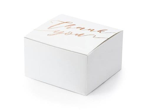 'Thank you' Favour Box White/Rose Gold 10pk