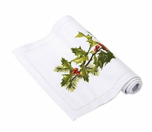 Christmas Fabric Table Runner 2m Botanical Holly