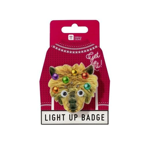 Christmas LED Llama Badge