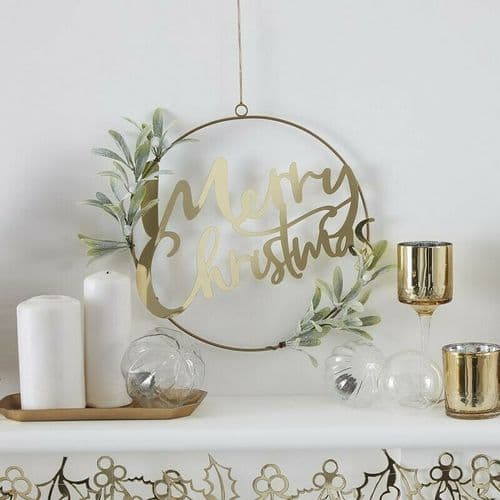 Gold Merry Christmas Wreath