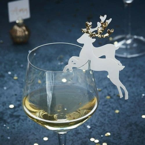 Gold Reindeer Glass Decoration 10pk