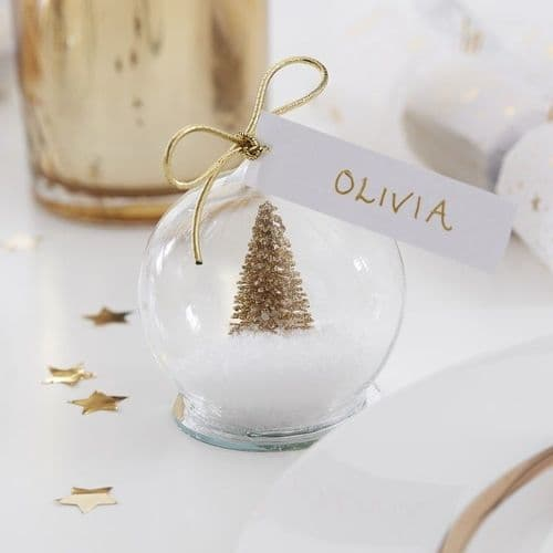 Gold Snow Globe Name Place 4pk