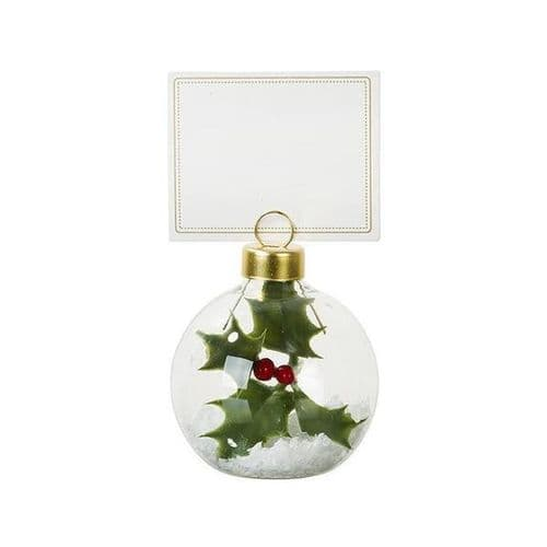 Holly Bauble Place Card Holder 6pk