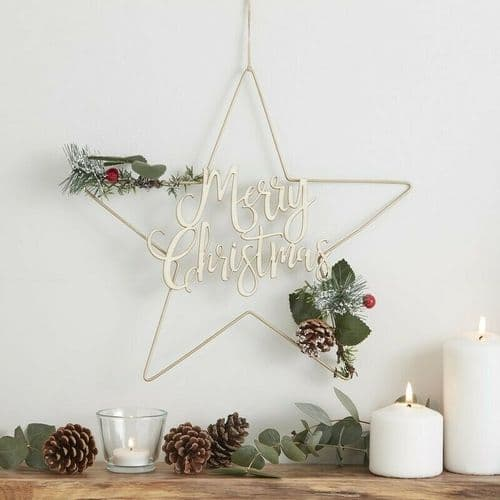 Star Foliage Merry Christmas Wreath