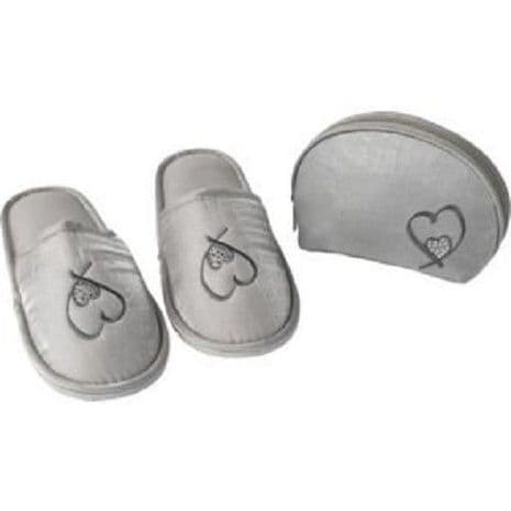 Cosmetic Bag and Slipper Set with Swarovski Elements Gift for Her gift