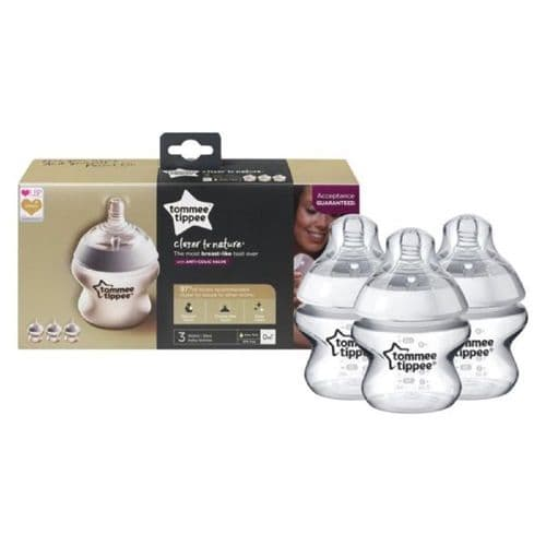 Tommee Tippee Closer to Nature 3X 150ml Feeding Bottles - Clear