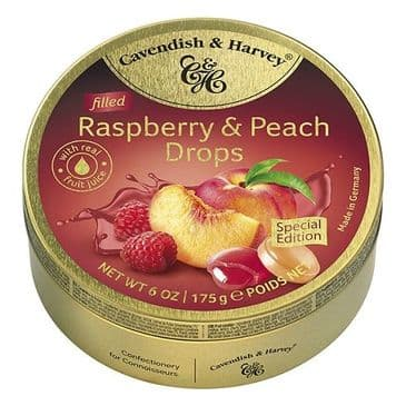 Cavendish & Harvey Filled Raspberry & Peach Drops (Travel Tin)