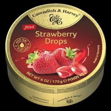 Cavendish & Harvey Filled Strawberry Drops (Travel Tin)