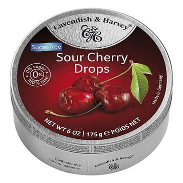 Cavendish & Harvey Sour Cherry Drops SUGAR FREE (Tin)
