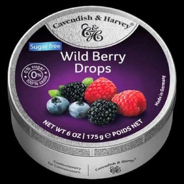 Cavendish & Harvey Wild Berry Drops (Travel Tin) SUGAR  FREE