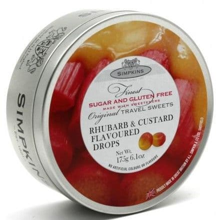 Simpkins Rhubarb & Custard Sugar Free Drops (Travel Tin)