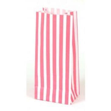 White/Pink Striped Paper Gift Bag