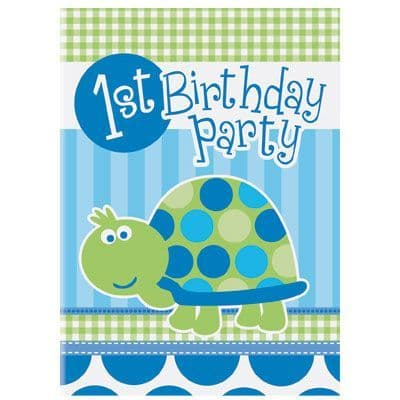 First Birthday Turtle (blue) Party Invites