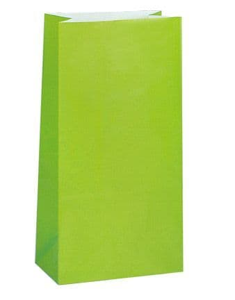 Paper Party Bags - Plain - Lime Green (Pack of 12)