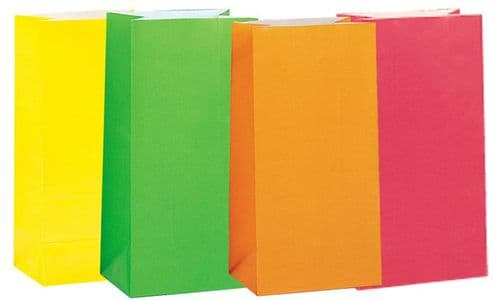 Paper Party Bags - Plain - Neon (Pack of 12)