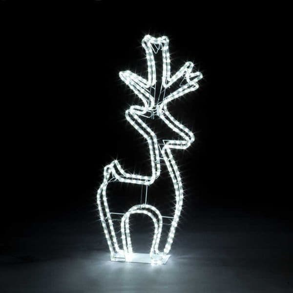 100cm 3D Rope Light Reindeer 288 Ice White LEDs