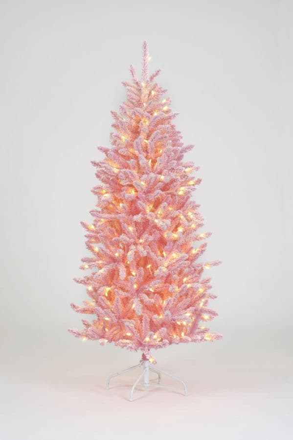5FT, 6FT OR 7FT PINK PRE-LIT CHRISTMAS TREE WITH WARM WHITE LED LIGHTS LUXURY SNOW FLOCKED
