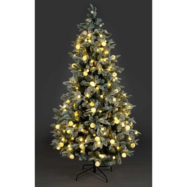 5ft, 6ft or 7ft Pre-Lit Warm White & Multi-Coloured LED Diamond Lake Christmas Tree Snow flocked