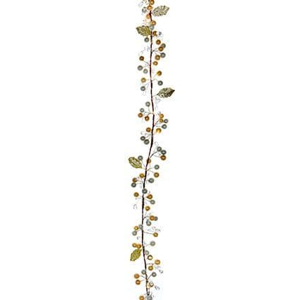 Christmas Decorations Berry Garland 6ft Champagne Gold Warm White LED Lights