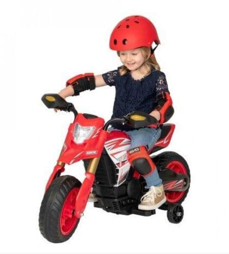 Evo Battery Operated 6V Rally Motorbike Kids Outdoor Ride On Toy Ages 3+ - Red