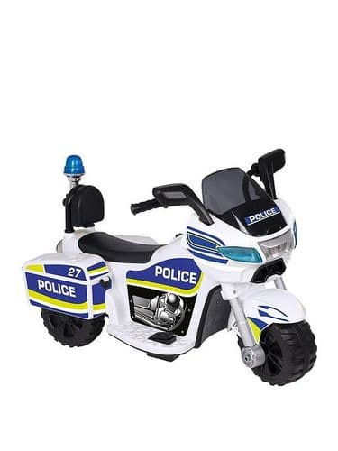 EVO Battery Operated Police Bike 6V Outdoor Kids Ride On Toy Ages 2+