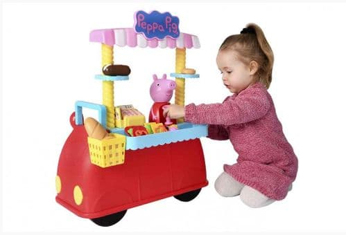 Peppa Pig Peppa's Deli Car Kids Role Play Toy With 30 Piece  Accessories Set for Ages 3 +