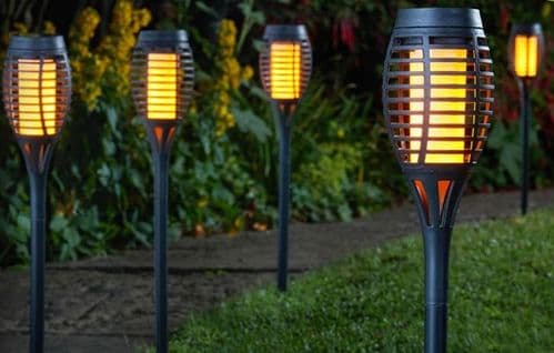 Smart Solar Powered 5 x Party Flaming Torch Cool Flame Ground Stake LED Lights - Black
