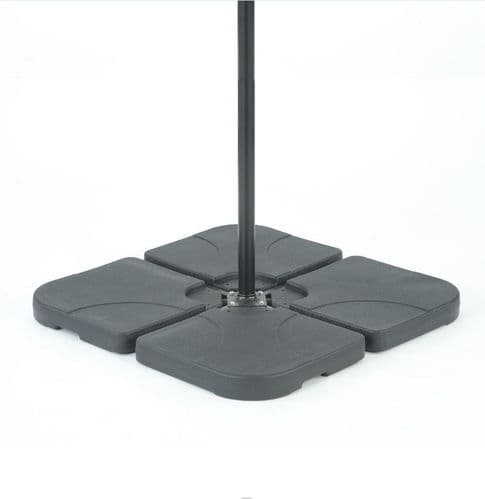 Square 4 x 15L water base for Banana Hanging Cantilever Parasol with 'U' Locking 50x50cm