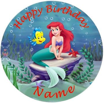 (Disney) Ariel 2 Edible - Pre Cut Personalised Icing Topper