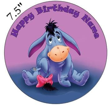 (Disney) Eeyore (Winnie The Poo) Edible - Pre Cut Personalised Icing Topper
