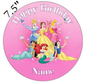 (Disney) Princess Pink Edible - Pre Cut Personalised Icing Topper ET