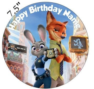 (Disney) Zootopia Judy Hopps And Nick Wilde Edible - Pre Cut Personalised Icing Topper