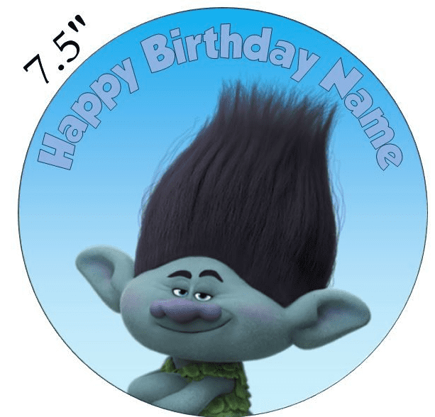 (Dreamworks) Trolls (Branch) Boy Edible - Pre Cut Personalised Icing Topper