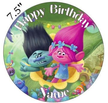 (Dreamworks) Trolls (Poppy And Branch) Edible - Pre Cut Personalised Icing Topper