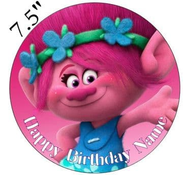 (Dreamworks) Trolls (Poppy) Girl Edible - Pre Cut Personalised Icing Topper