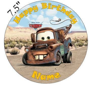 (Pixar) Cars Mator Truck Edible - Pre Cut Personalised Icing Topper