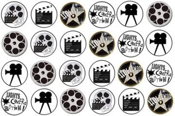48 Hollywood Themed Edible Rice Paper Toppers 3cm x 3cm