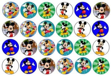 48 Mickey Mouse Edible Rice Paper Toppers 3cm x 3cm