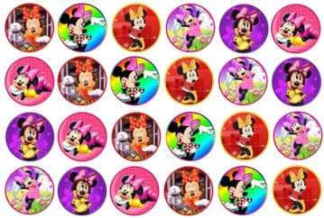 48 Minnie Mouse Edible Rice Paper Toppers 3cm x 3cm
